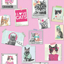 New Rasch Pink Cool Cats in Frames Luxury Wallpaper Pink Polka Dot  272802