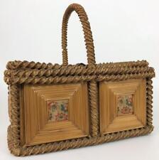 Antique 19thC Victorian American Folk Art Wicker Woven Straw Sewing Basket Box