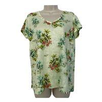 J Jill Love Linen Top S Aloha Tropical Short Sleeve V-Neck Womens Small Green