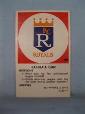 Vintage Kansas City Royals Baseball Quiz Trading Card Fleer Crown Emblem (O)