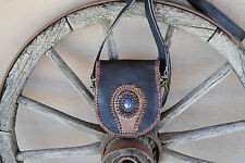 Cowhide Purse with Lapis Lazuli Stone Braided Leather Accents  Handmade USA
