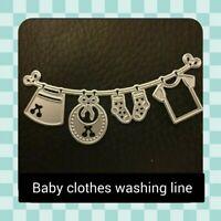 Metal Cutting Die - WASHING LINE - BABY CLOTHES - Card Making - Crafting - UK