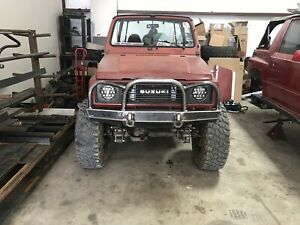 SUZUKI SAMURAI FRONT BUMPER WITH BRUSH GUARD LED LIGHTS SHACKLE TABS BOLT-ON