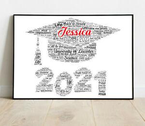 Personalised GRADUATION Mortarboard Word Art Print Degree Graduate Gift Keepsake