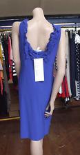 Joseph Ribkoff BNWT UK 10 Fabulous Electric Blue Calf Length Ruffle Neck Dress