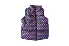Girls Old Navy Frost Free Puffer Vest Size XS 4 Fleece Lined Gray Pink Dots
