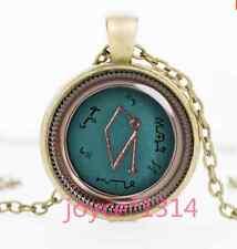 Vintage Archangel Uriel Sigil Cabochon bronze Glass Chain Pendant Necklace #1188