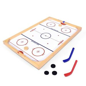 GoSports Ice Pucky Old Fashioned Wooden Table Top Hockey Game for Kids & Adults