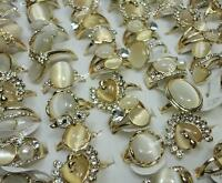 20pcs Natural Cat Eye Stone Rings Rhinestones Women Gold  Lots Wholesale Jewelry