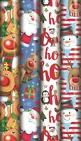 4 x 8M ROLLS CUTE REINDEER SNOWMAN HO CHRISTMAS PARCEL GIFT WRAP WRAPPING PAPER