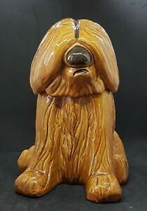 Vintage Doranne of California brown shaggy sheep dog cookie jar