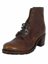 $398 Frye Womens Sabrina 6G Lace Up Leather Round Toe Boots, Cognac, US 8.5