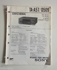 Schema SONY - Service Manual Integrated Stereo Amplifier TA-A57 TA-D509