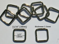 "Bb08J-Nl 100pcs 1/2""x1/2""x2.5mm Nickel Metal rectangle rings Wire-formed loops"