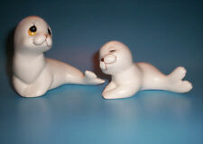Vintage White Seal Sea Lion Mom & Pup Pair Figurines by Oxford