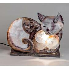 Tischlampe, Leuchte MUSCHEL Katze liegend braun beige 23x28cm Formano