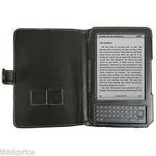 "BLACK LEATHER CASE COVER FOR AMAZON KINDLE 3 3G 6"" NEW"