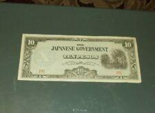 Japanese Japan Occupation Phillipines 10 Peso Bank Note 1940's War Bills