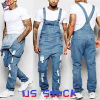 Fashion Men Jeans Denim Pants Boys Casual Ripped Bib Jumpsuit Loose Overalls US