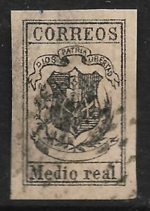 STAMPS-DOMINICAN REPUBLIC. 1910-13. ½ Real Black on Buff. Fournier Forgery.