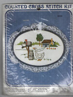 VTG New Berlin Counted Cross Stitch Kit Lace Trimmed Hoop Frame House Country