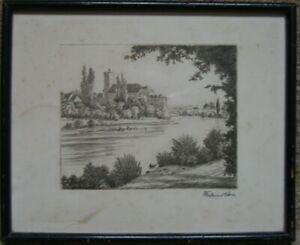 Ferdinand Daba 1880 -1968 Castle Runkel at The Lahn ° Etching Frame Signed