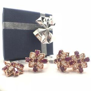 14k Rose Gold Natural Ruby and Natural Diamond Set