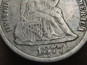 1877 CC Seated Liberty Silver Dime- Fine Details, Carson City