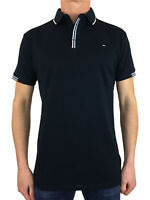 Weekend Offender Mens Cather Stripe Collar Polo Shirt in Navy