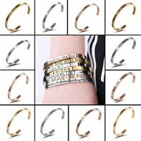 Engraved Stainless Steel Letter Wish Love Cuff Bracelet Bangle Unisex Jewellery