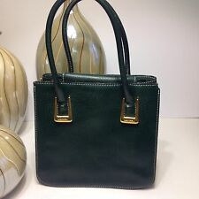 Authentic Vintage LANCEL Green Leather Tote  Handbag  bag - Italy
