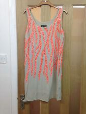 Ladies Mango Dress Beige Orange Sequenced New Unworn Altered To Fit Size 10