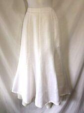 FLAX Jeanne Engelhart Light Weight Gauzy White Linen Flared A-Line Midi Skirt S