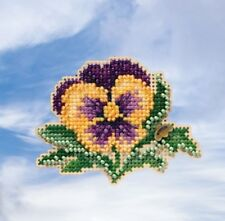 10% Off Mill Hill Spring Bouquet Collection X-stitch/Bead Kit - Tricolor Pansy