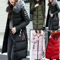 Womens Big Fur Collar Hooded Coat Winter Long Parka Warm Down Padded Jacket LQ