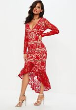 new ASOS FLORAL LACE TIERED maxi dress by misguided us 6 small