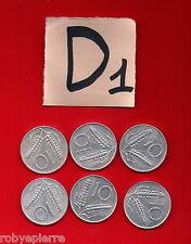 lotto 10 lire repubblica italiana italy 6 monete coins 1955 1973 1979 80 81 1982
