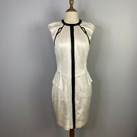 Cue Womens Size 12 A - Line White Midi Cap Sleeves Wiggle Shinny Dress