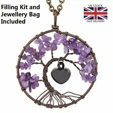 Purple Stone Tree of Life Cremation Urn Pendant Ashes Necklace Funeral Memorial