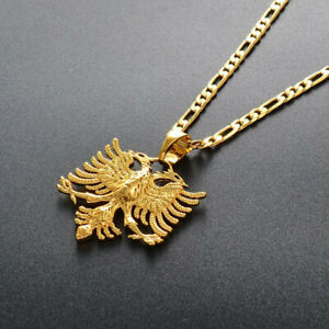 Albania Eagle Pendant Necklace Albanian Jewelry Medal Patriotic Gold Colour Gift