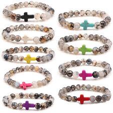 New Natural Stone Cross Beaded Bracelets Charm Energy Yoga Bangle For Man Women