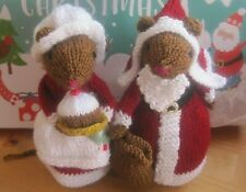 HAND KNITTED CHRISTMAS DAY MICE. 7 INCHES TALL. VERY FESTIVE. SANTA, PUDDING.