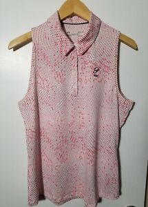 1 NWT UNDER ARMOUR WOMEN'S S/L POLO, SIZE: LARGE, COLOR: WHITE/PINK (J195)