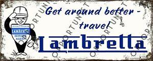 Vintage Retro Lambretta Advertising LI SX LD TV Metal Sign Size 28 x 11cm