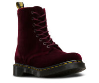 Dr Martens Women's 1460 Pascal Velvet Lace Up Boots in Black and Cherry Red