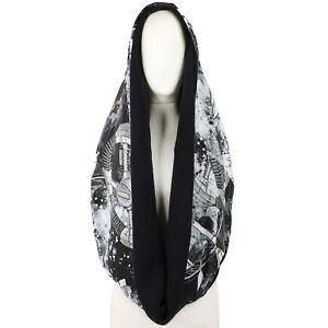 SWASH London Black Grey Rocket Print Silk Snood Scarf