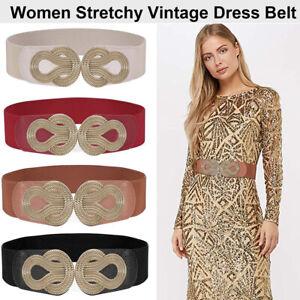 Women Girdle Wide Waistband Elastic Stretch Dress Waist Belt Girls Buckle Band