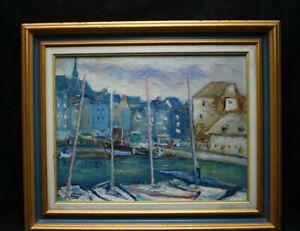 Tableau jean Selos ecole de Rouen Le port d'HONFLEUR