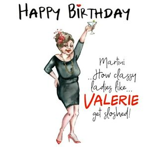 PERSONALISED BIRTHDAY CARD 6X6 OLDER LADY CLASSY MARTINI SLOSHED -FRIEND,SISTER