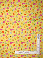 Floral Flowers Daisy Yellow Cotton Fabric Timeless Treasures C5826 1.8 Yards